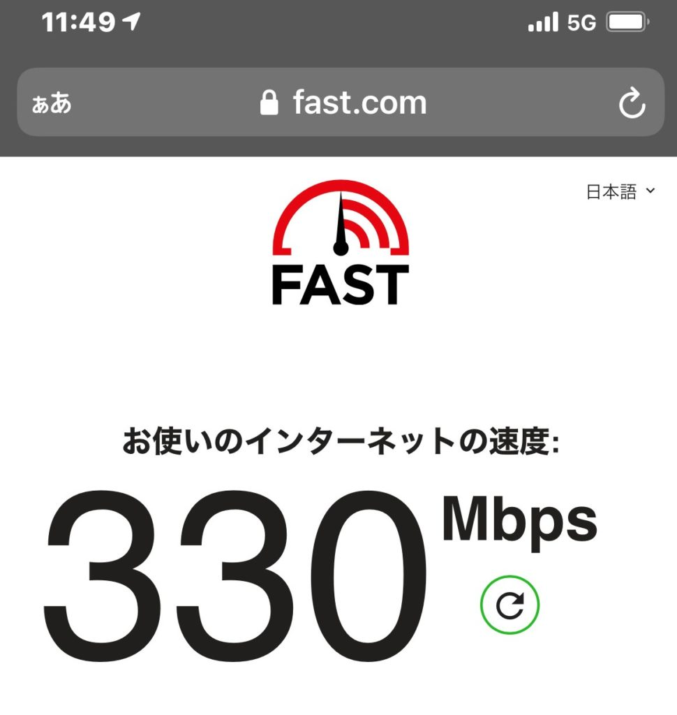 5G ワイモバイル スピードテスト